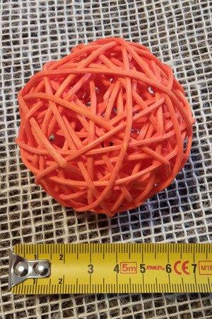 Dekoracyjna kula rattanowa średnica 7 cm kolor pomarańczowy