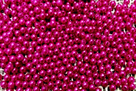 Koraliki błyszczące średnica 6 mm kolor ciemnoróżowy (fuksja)